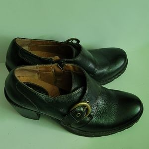 Born Brown Leather Wedge Shoes Size 8